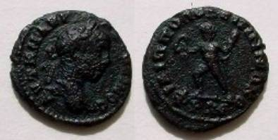 Ancient Coins - Elagabalus AE18 of Philippopolis, Thrace.  Athlete advancing left holding wreath and palm.