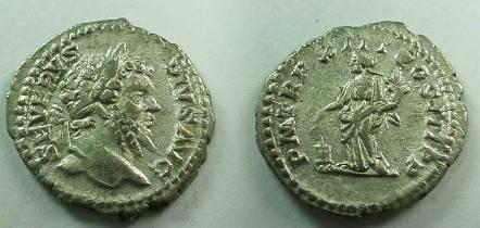 Ancient Coins - Septimius Severus Denarius,  205 AD.  P M TR P XIII COS III P P, Anonna standing left holding corn ears over modius to left & cornucopiae.