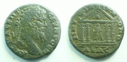 Ancient Coins - Septimius Severus AE28 of Philippopolis, Thrace.  Shrine with Caryatid (in shape of women) columns and peaked roof, figure of Askepios standing right within.