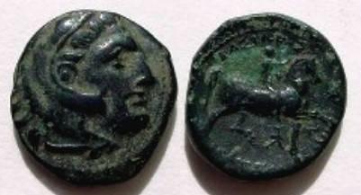 Ancient Coins - Macedonian Kingdom .AE20mm. Head of Hercules right / Horseman. BASIL----, who?