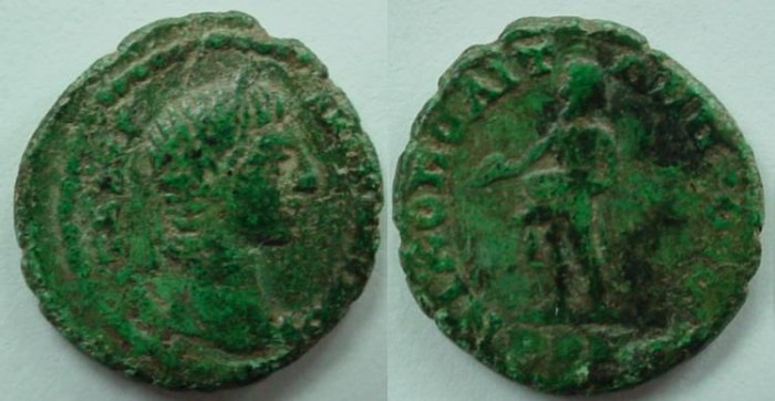 Ancient Coins - Elagabalus AE18 of Nikopolis ad Istrum.Priapus standing left with enormous penis
