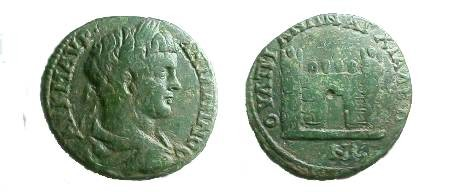 Ancient Coins - Caracalla AE28 of Anchialus, Thrace.  City gate, no door, with two crenulated towers.