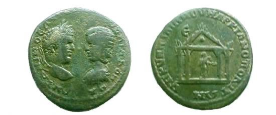 Ancient Coins - Caracalla & Julia Domna AE28 Pentassarion of Markianopolis.  Tetrastyle temple with peaked, crenulated roof, Aesklepios within holding snake & patera.