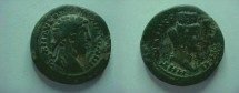 Ancient Coins - Marcus Aurelius AE27  MHTPOPOL NEWKO - - Bust of Tyche with city walls on her head.