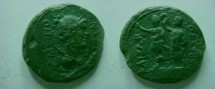 Ancient Coins - Amphipolis, Macedonia .Augustus. AE25 .Bust of Artemis right/Augustus on dais left, crowned by Genius