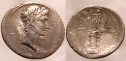 Ancient Coins - Octavian Denarius. 29-27 BC. No legend,Laureate bust of Octavian as Apollo r /statue of Octavian