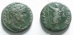 Ancient Coins - Septimius Severus AE26 Tetras of Kallatis, Thrace.  Athena standing right with spear and own,