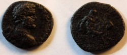 Ancient Coins - Septimius Severus AE33 of Pautalia, Thrace.Naked Hercules jumping right wrestling the Namean lion.RRR