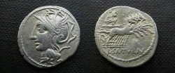 Ancient Coins - Lucius Appuleius Saturninus Denarius,  104 BC.  L SATVRN, Saturn in quadriga right; letter or dots above.