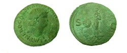 Ancient Coins - Nero AE AS.  Victory flying left, holding sheild inscribed SPQR, S-C to sides.
