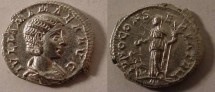 Ancient Coins - Julia Mamaea Denarius. Early 222 AD. IVLIA MAMAEA AVG, draped bust right / IVNO CONSERVATRIX,