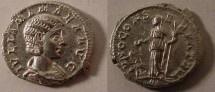 Ancient Coins - Julia Mamaea Denarius. Early 222 AD. IVLIA MAMAEA AVG, draped bust right / IVNO CONSERVATRIX,
