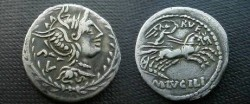 Ancient Coins - M Lucilius Rufus Denarius,  101 BC.  Victory in biga right; RVF above, M LVCILI in exergue.