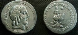 Ancient Coins - Mn Fonteius Cf Denarius,  85 BC.  Infant Genius riding goat right, caps of the Dioscuri above, filleted thyrsos below.