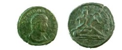 Ancient Coins - Hanniballianus Æ4. The Euphrates River reclining right with scepter and reed, CONSS in ex. RIC 147, Cohen 2.