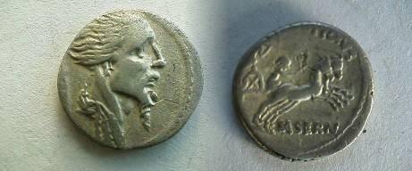 Ancient Coins - L Hostilius Saserna Denarius,  48 BC.  Two warriors in biga, one driving and the other brandishing  spear; L HOSTILIVS above, SASERN below.