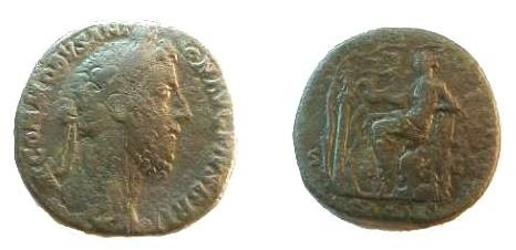 Ancient Coins - Commodus Æ Sestertius. Salus seated left feeding snake coiling up in front of column between two vines; on column, statue of Bacchus holding thyrsus.