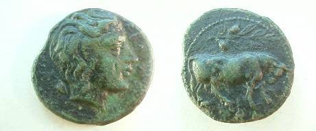 Ancient Coins - Gela, Sicily, AE Trias.  Head of young river god right with free flowing hair, barley grain behind.