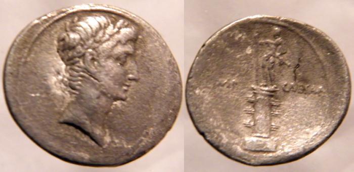 Ancient Coins - Octavian Denarius. 29-27 BC. No legend,Laureate bust of Octavian as Apollo r /statue of Octavian