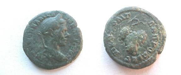 Ancient Coins - Macrinus AE18 of Nikopolis ad Istrum.  Bunch of grapes hanging from a vine.