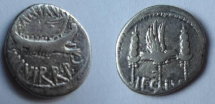 Ancient Coins - Mark Antony. 32-31 BC. AR, Silver Legionary Denarius. LEG IV. Legio IV Scythica
