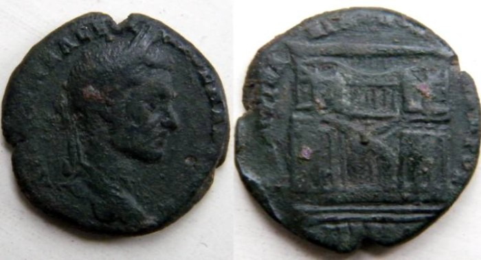 Ancient Coins - Macrinus, 217 - 218 AD.AE 26 of Nicopolis, Moesia Inferior.Nymphaeum at Nicopolis