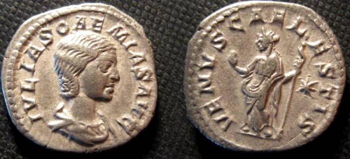 Ancient Coins - Julia Soaemias, the mother of Elagabalus. Augusta, AD 218 - 222. AR Denarius/Venus standing lt., holding an apple and sceptre.