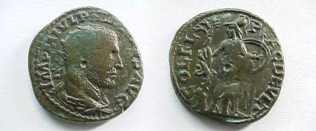 Ancient Coins - Philip I AE24 of Deultum, Thrace.  COL FL PAC DEVLT, Athena, helmeted, standing left holding spear and shield, facing a tree upon which a serpent is climbing.