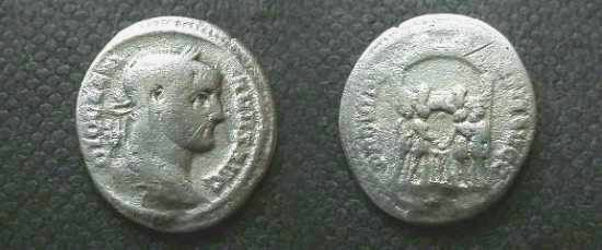 Ancient Coins - Diocletian AR Argenteus.  PROVIDENTIAE AVGG, the four Tetrarchs (Diocletian, Maximianus, Galerius & Constantius) sacrificing over tripod before campgate with six turrets.