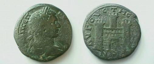 Ancient Coins - Geta AE30 of Augusta Traiana, Thrace.  City gate with square portal, two crenulated towers to sides and one behind.