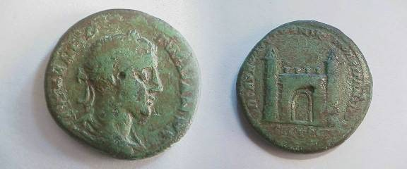 Ancient Coins - Gordian III AE26 of Nicopolis, Moesia Inferior. City gate with conical towers.