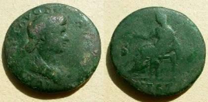 Ancient Coins - Julia Titi Æ Dupondius. Vesta enthroned left holding Victory.Rare