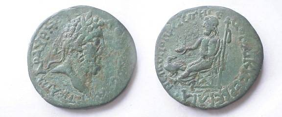 Ancient Coins - Commodus?AE28mm. Caesaria? (Which Caesaria?) / Zeus enthroned left with eagle & scepter. VFwith beautiful apple ggreen patina!!