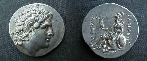 Ancient Coins - Lysimachos AR Tetradrachm.  BASILEWS LUSIMACOU, Athena seated left, holding Nike, ear of grain below.