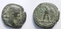 Ancient Coins - Severus Alexander AE26 of Markianopolis. Eagle standing left on rod, head left with wreath in its beak.