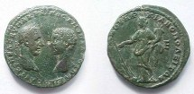 Ancient Coins - Macrinus and Diadumenian Æ28 Pentassarion of Markianopolis.  Tyche-Fortuna standing left, wearing turreted crown, holding rudder & cornucopiae, E to right.