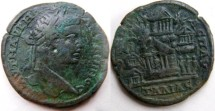 Ancient Coins - Caracalla AE30 of Pautalia, Thrace. Elaborate view of a mountain with five temples.Three Graces to right and a cave with a female to the left.RRR