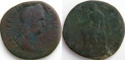 Ancient Coins - Sabina AE Sestertius. / VESTA, SC in ex.Vesta seated left holding Palladium and sceptre