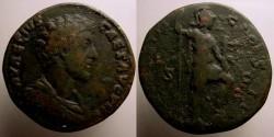 Ancient Coins - Marcus Aurelius AE sestertius. 163-164 AD. Minerva standing right holding spear