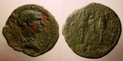 Ancient Coins - TRAJAN. 98-117 AD. Æ As (27.46 gm). Struck 114-117 AD.Two trophies.
