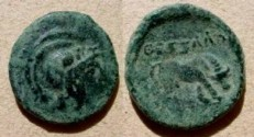 "Ancient Coins - Thessalonica, Macedonia, AE19,  187-31 BC.  <font face=""SYMBOL"">QESSALONIKH</font>, horse grazing right."