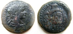 Ancient Coins -   Caracalla AE30mm of Pautalia, Thrace. Unusual  view of the Agora of Pautalia .Very rare and interesting