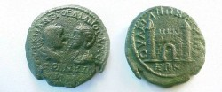 Ancient Coins - Gordian III and Tranquillina AE27 of Anchialus.  City gate with two conical towers & open, arched door.