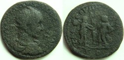 Ancient Coins - Trajan Decius AE34 of Tarsos, Cilicia.  Perseus standing left holding head of Medusa, facing fisherman Dictys standing right with fishing pole from which hang a fish and a basket.