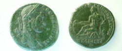 Ancient Coins - Macrinus AE27 of Markianopolis.  River god reclining left, leaning on jug from which river waters flow, holding reeds, and resting arm on prow of a boat.
