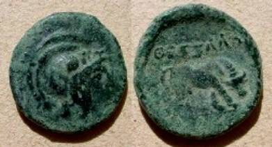Ancient Coins - Thessalonica, Macedonia, AE19,  187-31 BC.  QESSALONIKH, horse grazing right.