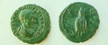 Ancient Coins - Diadumenian AE18 of Deultum, Thrace.  C F P D, Telesphorus standing facing in hooded cloak.