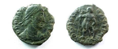 Ancient Coins - Procopius AE3. 364-367 AD. Emperor standing facingi, head left, holding spear & sheild.