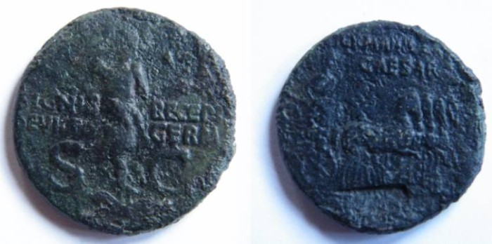 Ancient Coins - Germanicus AE Dupondius struck by Caligula. GERMANICVS CAESAR, Germanicus in quadriga right