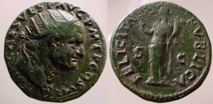 Ancient Coins - Vespasian AE Dupondius. 76 AD.Felicitas. Felicitas was the goddess  of good luck and success.
